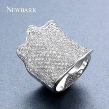 NEWBARK Silver Color Large Statement Women Ring Paved AAA Shining Cubic Zirconia CZ Stone Wide Unusual Rings Women Fashion