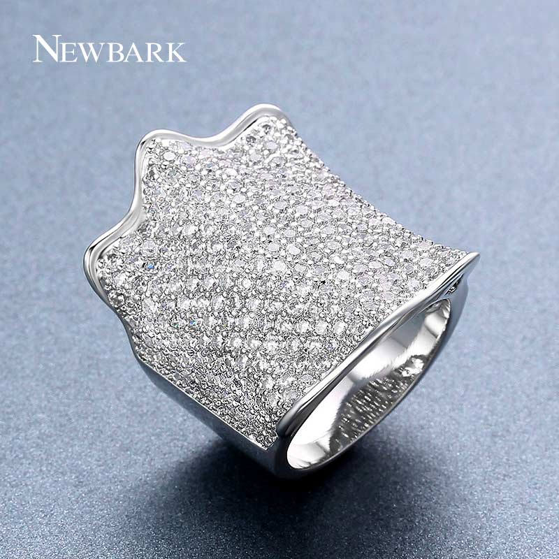 NEWBARK Silver Color Large Statement Women Ring Paved AAA Shining Cubic Zirconia CZ Stone Wide Unusual Rings Women Fashion(China)