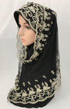 (12 pieces/lot) new designs fashion lace two peices muslim hijab scarf (inner hijab can wear seperate) wedding hijab ML0670
