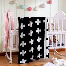 2017 Original Brand 100% Cotton Thick Black White Cross Blanket Newborn Swaddle Baby Bedding Baby Knitted Blankets Cama Play Mat