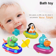 Brand Baby bath toys children play in the water swimming boat ship essential Clockwork rope toys wheel type dabbling toy sassy(China)