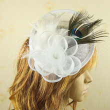 Ladies cocktail Peacock feather fascinator Elegant royal hat sinamay fascinator women feather hat wedding/party hair accessory