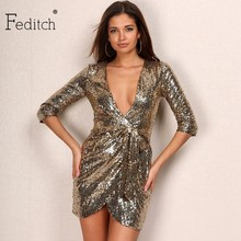Feditch 2017 New Arrival Fashion Sequins Dress Women Sexy V Neck Long Sleeve Vestidos Party Dresses Elegant Nightclub Wear(China)