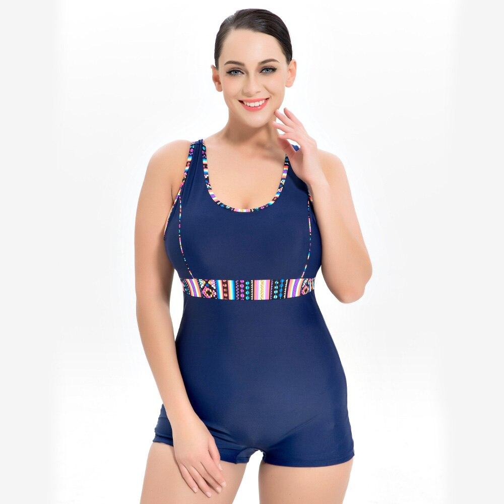 2018 NIDALEE Large Sizes Sporty Swimsuit For Women Scoop Neck Boy Leg Shorty One Piece Swimwear Plus Size Womens Swimsuits <br>