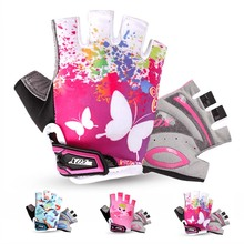 BATFOX GIRLS Kids Cycling Gloves Half Finger Summer Breathable Quick Dry Padded Safety Outdoor Protection Bicycle Bike Gloves