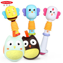 Meibeile Cute Animals Toddler Educational BB Bar Roly-Poly Hand Bell Baby Rattles Toys With BB Sounds