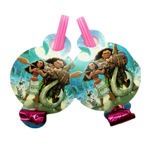 New Arrival 6 Pcs/bag Moana Theme Blowouts Girls Boys Show Decorartion Birthday Party Supplies Set Blowout Wholesale