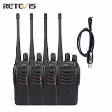 4 pcs Retevis H777 Walkie Talkie+A Programming Cable UHF400-470MHz Amateur Two Way Radio 16CH Frequency Portable Radio A9105A(China)
