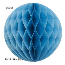 15CM=6inch 10pcs/lot Sky Blue Round Tissue Paper Honeycomb Balls Baby Shower Party Decorations Marriage Holiday(China)