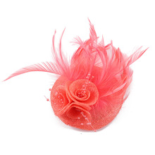 Vintage Women Bride Handmade Feather Flower Beads Hair Pin Clips Headdress Wedding Accessory(China)