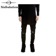 2016 Ripped New Biker Jeans Motorcycle style elastic men jeans Slim Fit Washed pants Black colors destroyed men pant(China)