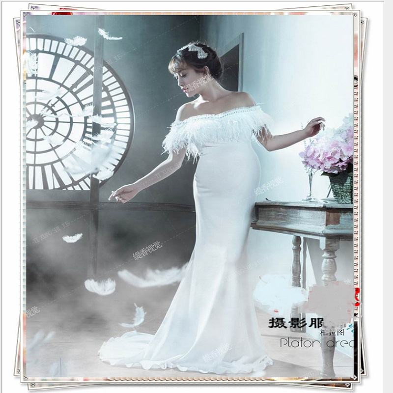 Maternity White Lace Royal Photography Props Dresses Pregnancy Fancy Gown Clothes For Pregnant Women Photo Portrait Long Dress<br>
