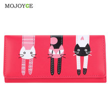 Lovely Candy Color PU Leather Wallet Women Cartoon Cat Printed Portfolio Wallet Women Luxury Brand Clutch Purse Card Holde 1STL
