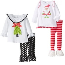 2015 childrens Christmas clothing set baby girls Cute Deer long sleeve t-shirt /dress+pants 2pcs set kids Halloween Suits outfit