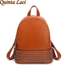 Quinta Laci Women Backpack 2017 New European Style Fashion All-match Cow Leather Bags Body PU Rivet Double Higher Backpack