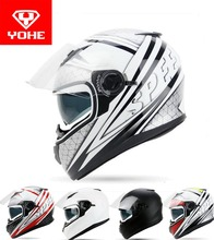 2017 Fashion  YOHE double lens Full Face Motorcycle helmet YH-970 motocross motorbike helmets made of ABS / PC lens  Speed color