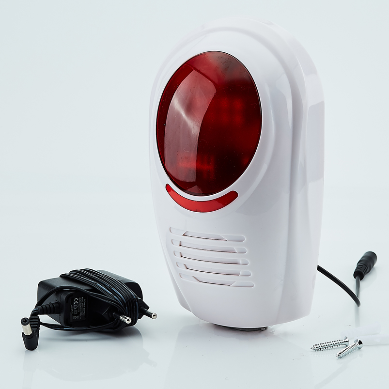 WIRELESS WEATHERPROOF EXTERNAL FLASH LED STROBE OUTDOOR SIREN Red Light 110dB 315MHz For Home Security GSM Alarm System<br>