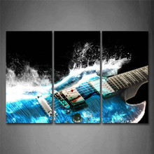 Guitar In Blue And Waves Looks Beautiful Wall Art Painting The Picture Print On Canvas Music Pictures For Home Decor Decoration