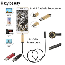 Hazy beauty 2m PC Android Endoscope 7mm Lens USB Endoscope Camera Waterproof Inspection Borescope Micro OTG USB Car Endoscope(China)