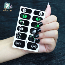 Y5241 Manicure Foil Decor Decal Adhesive Nail Art Sticker HD Green Skull Skeleton Halloween Fashion Nail Wrap Sticker Decoration