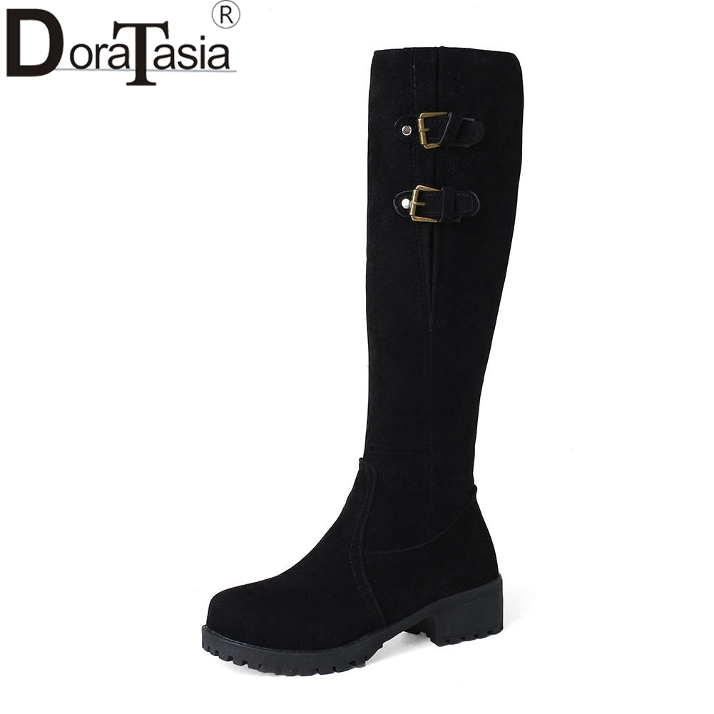 DORATASIA New Solid Square Med Heels Zip Metal Decoration Shoes Woman Casual Winter Boots Black Big Size 33-44
