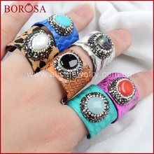 BOROSA Multi-stone With Rainbow Color Natural Python Skin Crystal Rhinestone Pave Zircon Ring JAB299