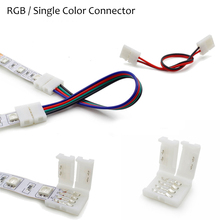 1 pcs 2Pin 4pin 5pin  8mm 10mm 12mm RGBW RGB Single Color solderless PCB board wire connection for 3528 5050 LED Strip light