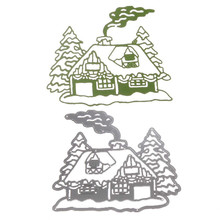 Metal Steel Santa Claus Cutting Dies Stencil DIY Scrapbooking Album of Santa Claus Chimney house decorate with Pine