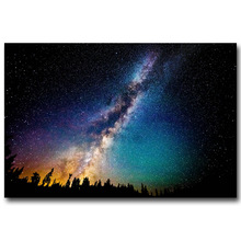 Milky Way Galaxy Stars Nebula Silk Fabric Poster Print 13x20 24x36inch Space Starry Night Pictures for Home Wall Decor