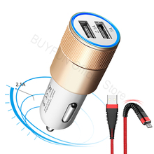 5V/2.1A Quick Charge Car Charger Cable Phone Charger Fast Charging Cable Samsung Xiaomi Huawei Android Charge Adapter Cord