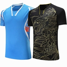 Sportswear Quick Dry breathable badminton shirt,Women/Men table tennis dragon Print team game running training Sport T Shirts(China)