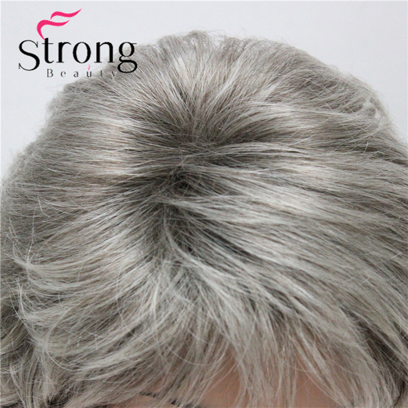 E-7125 #48T New Short Wig Wavy Curly Grey Mix Brown Women's Synthetic Hair Full Wig Thick (2)
