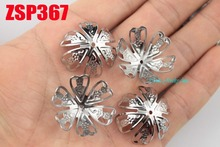 25mm stainless steel big bead cap cinquefoil  fashion jewelry parts earring Components 200pcs ZSP367
