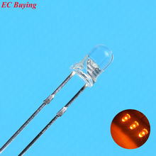 3mm Orange LED Round Light Emitting Diode Transparent Ultra Bright Lamp Bead Plug-in DIY Kit Practice Wide Angle DIP 100 pcs/lot