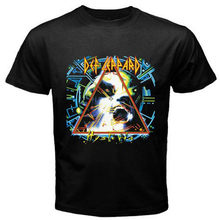 New Def Leppard Hysteria Hipster Rock Band Mens Black T Shirt Custom Mens/Womens Short Sleeve Design College Cotton Shirts S-3XL