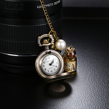 2017 NEW! Japan Quartz Movt Bronze Pocket Watches Women Fashion Retro Chain Necklace Watch Clock Pearl Wishing Bottle Pendant(China)