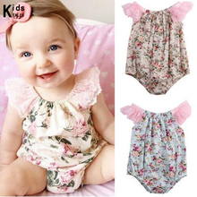 RY-256 Fashion Baby Baby Sleeveless Flower Floral Lace Sliders Overalls Suits Baby Beach Suit Clothes(China)