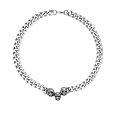 Men's Vintage Large Heavy Punk Skull Chokers Necklaces in Stainless Steel Skeleton Cuban Curb Link Chain Choker  Bike Jewelry