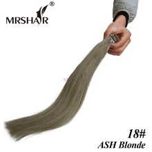 "MRSHAIR 18# Fusion Hair Extensions I Tip 1g 16"" 20"" 24"" Ash Blonde Hair Keratin Non Remy Natural Hair Bond Keratin Tip Hair 50pc"
