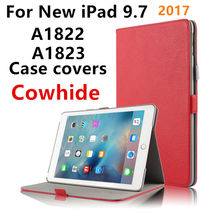 Case Cowhide For Apple New iPad 9.7 inch 2017 Cases Smart Cover Genuine Leather Tablet for iPad 9.7 A1822 A1823 Protector Sleeve