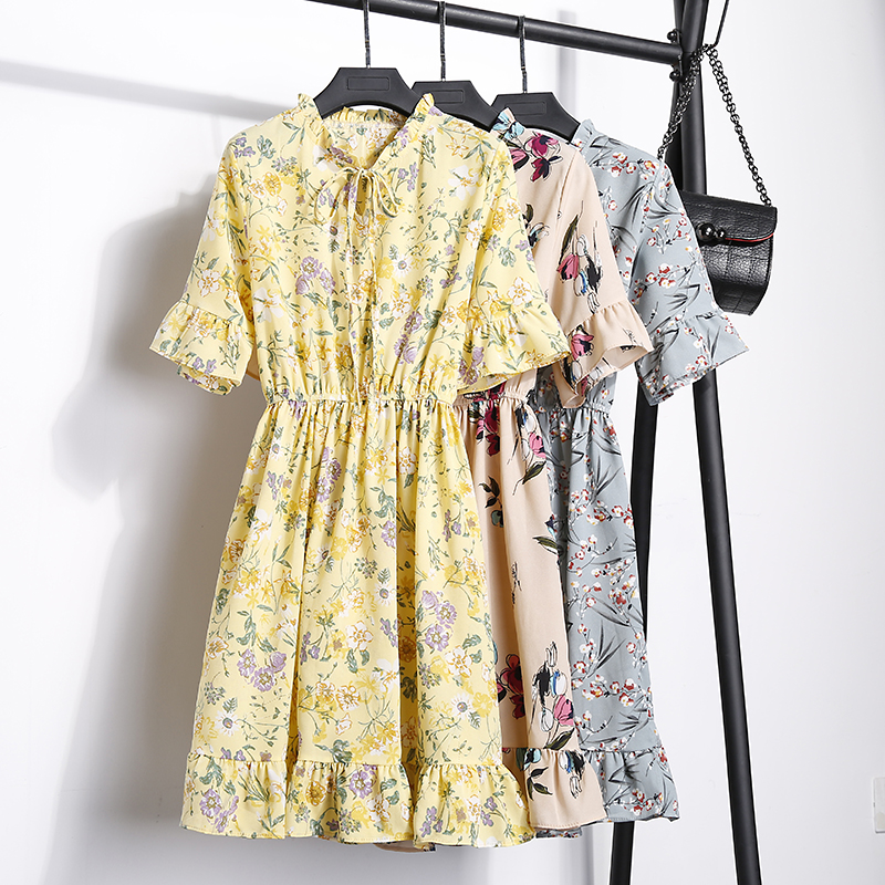 2018 Free Shipping New Fashion Floral Chiffon Summer Dresses Sweet Thin Word Slim Women Work Wear Print Dress Casual Cute Hot 9