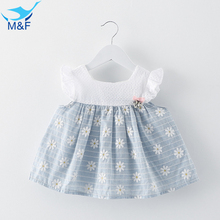 M&F Summer Baby Girl Party Dress Cotton Tutu Print Vintage Princess Sundress Birthday Sleeveless Newborn Dress Children Clothes
