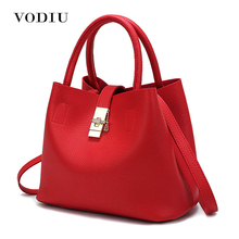 Women Bag Handbag Tote Over Shoulder Crossbody Messenger Leather Female Red Bucket Lock Big Casual Ladies Luxury Designer Bags(China)