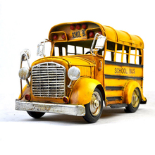 Retro Tinplate Metal School Bus Models Collection Classic Handmade Arts And Crafts Bus Vehicle Model(China)