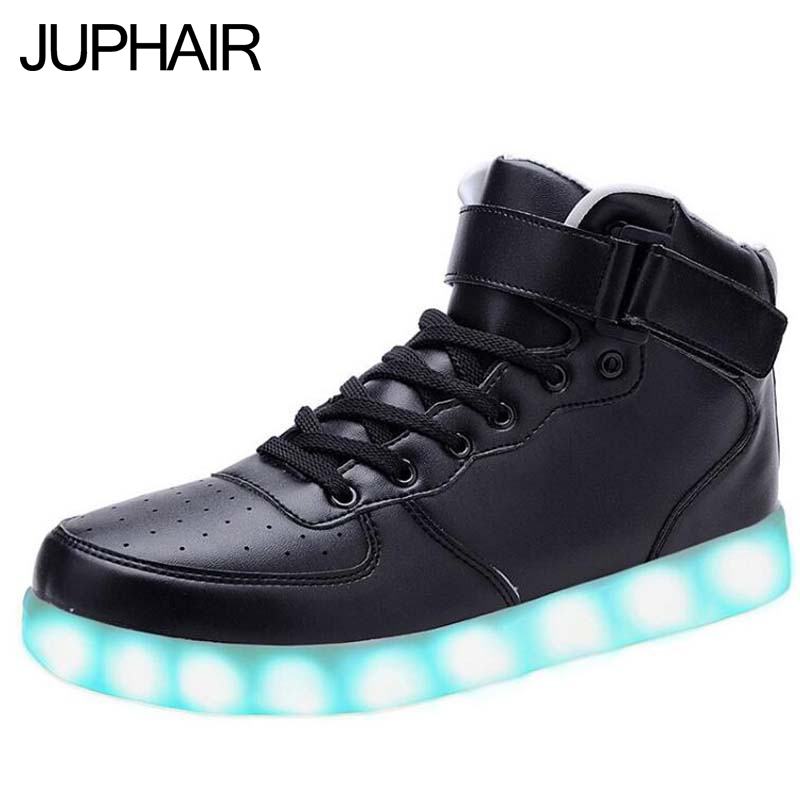 JUP Black Shoes Girl Men LED High Top Shining Light Illuminate Intermitentes Colores Adult Casual USB Charging Sapatos Masculino<br><br>Aliexpress