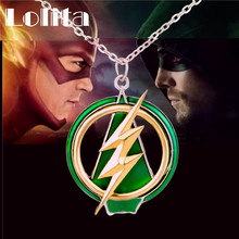 2016 New The Flash And Arrow Pendant Necklace For Men Women Green Yellow Lightning XL635(China)