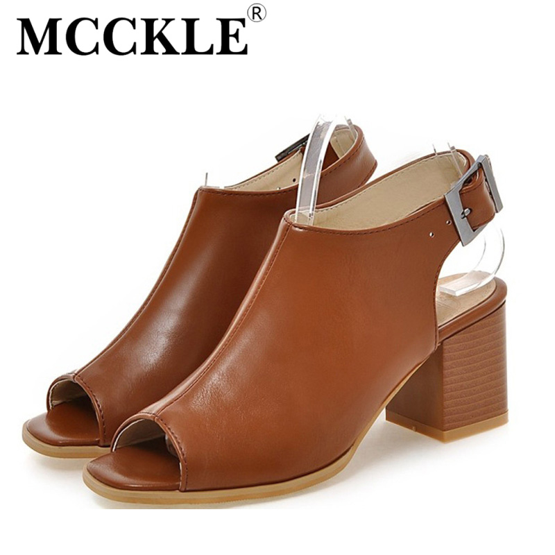 MCCKLE woman fashion high Heels Sandals Women  PU Leather Peep Toe Slingbacks Buckle Fashion Comfort Shoes Woman Plus Size34-43<br><br>Aliexpress