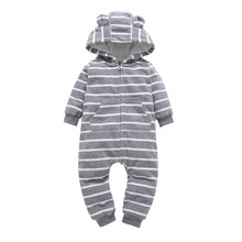 Buy 2017 kids winter autumn clothes one piece Long Sleeve stripe Hooded jumpsuit infantil Newborn baby boy girls warm outfits 0-24m for $10.61 in AliExpress store