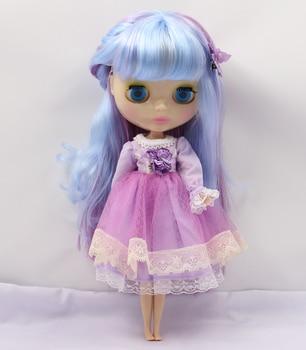 2137/6005 Violet bleu Coloré Cheveux Longs avec une frange/franges