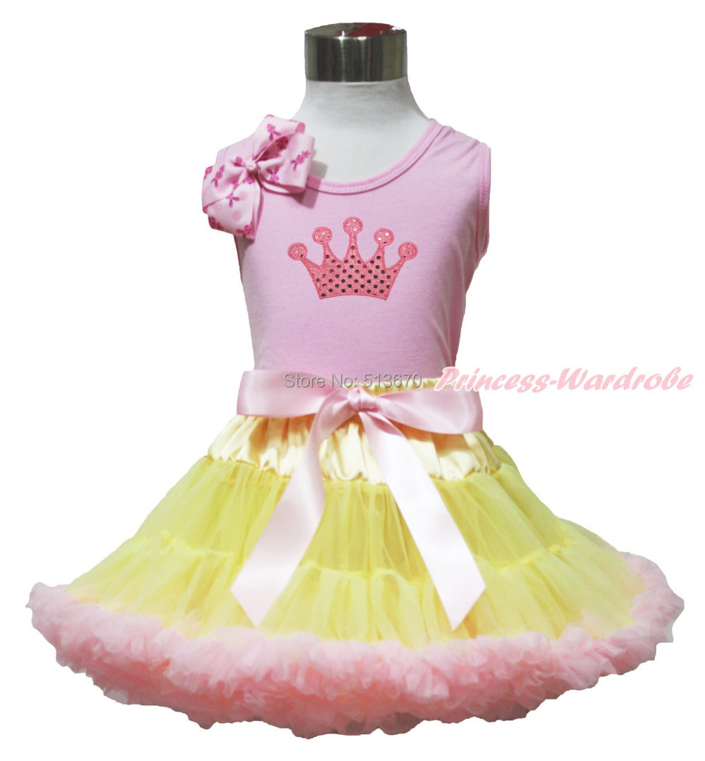 Easter Pink Crown Pink Bow Pink Top shirt Pink Yellow Baby Girl Skirt Set 1-8Y MAPSA0503<br>